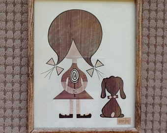 Robert Lyons Print Mid century in Wood Frame - Eames Era Art Wall Decor - Vintage Wall Hanging Framed Girl in Pigtails and Dog Dated 1962