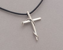 Women's cross pendant, sterling silver cross on leather cord, unique religious jewelry ST627a