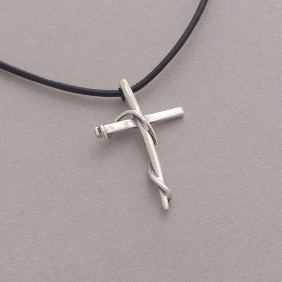 s cross pendant sterling silver cross on leather
