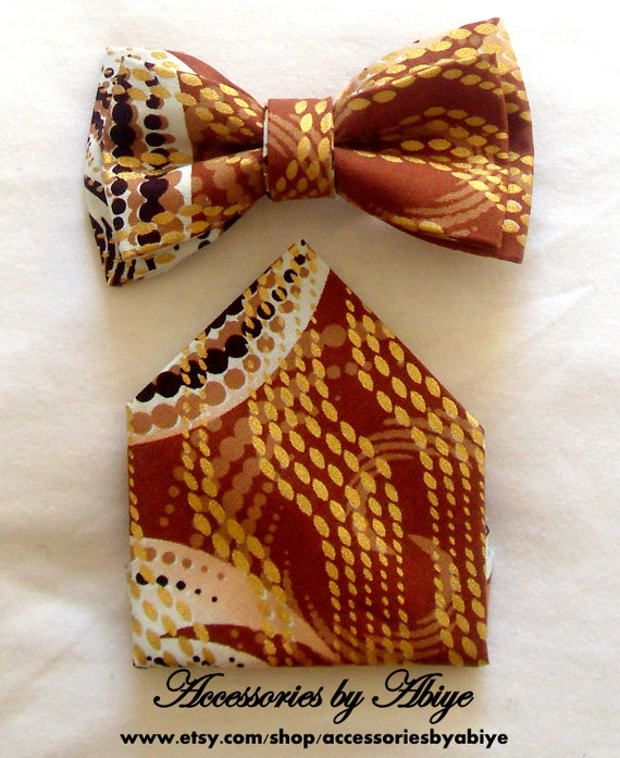 Bow Tie And Matching Pocket Square Ankara African Wax Print