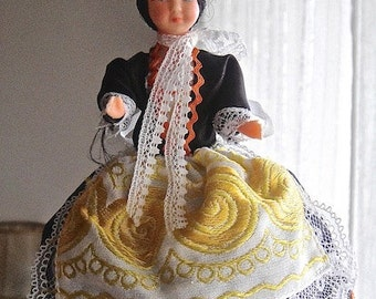 Bigoudene French Costume celluloid doll from the 60s, collectible.