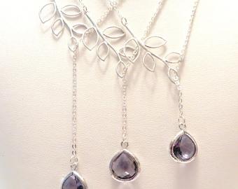 Set of 3 Purple Bridesmaid Necklaces Amethyst Purple Necklace Silver Leaf Lariat Silver Necklace Silver Branch Eggplant Purple Wedding