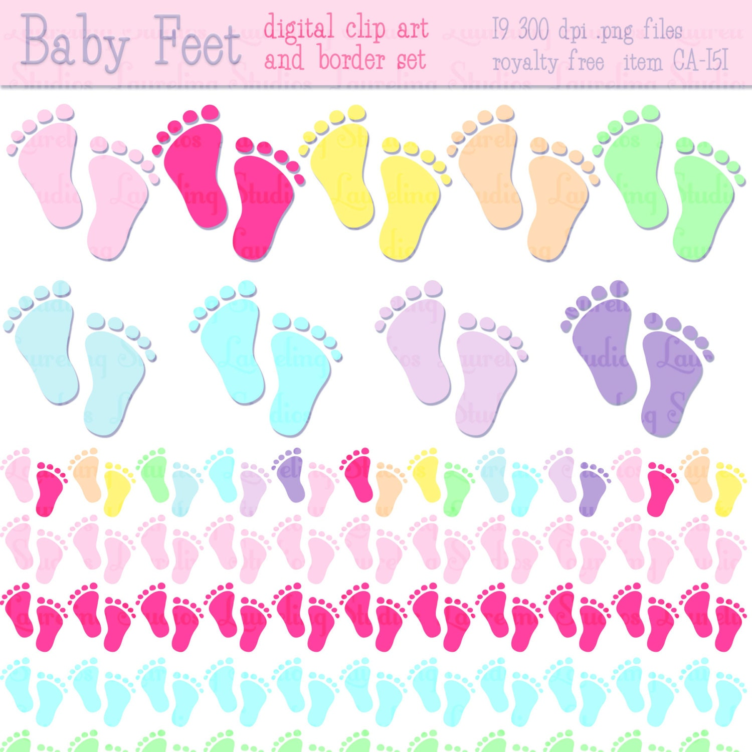 Baby shower clip art amp borders baby feet by laurelingstudios