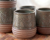 Olive green carved geometric whiskey cup / teacup