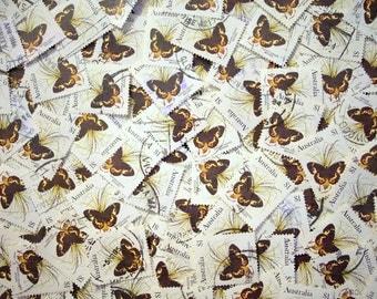 Australian Sword Grass Brown Butterfly Stamps x 10