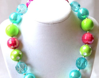 girls chunky bubblegum bead necklace lime green pink aqua purple necklace girls necklace chunky necklace summer bubble gum necklace birthday