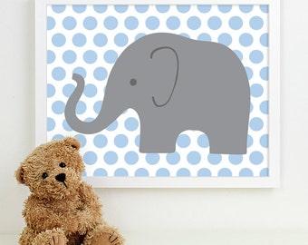 Baby Boy Nursery Art for Boys Room Decor, Baby Boy Gift for Boy, Boys Wall Art for Boy Nursery Decor Playroom Boys Art Elephant