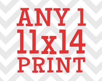 Any (1) One 11x14 Print - You Choose the Print and Colors