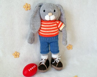 Toy knitting pattern. Ernie the Bunny. Floppy eared bunny with paws. PDF instant download knitting pattern