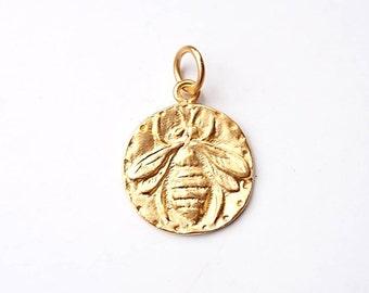Bee Charm, Bumblebee, Queen Bee, Gold Charm, Silver Charm, Brittanium, Honeybee, Coin Jewelry