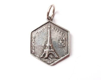 Eiffel Tower Charm, Paris, Silver Charm, Brittanium, Pewter Charm, Coin Jewelry, Paris Necklace, Silver Pendant, Gold Charm