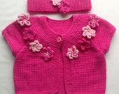 Baby Sweater, Baby Cardigan, Matching Hair Band Size 6 to 12 Months,  Toddler  Sweater, Pink Sweater