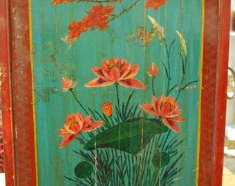 Vintage Asian Art Colorful Bird Panel