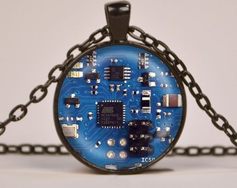 Blue 2 Circuit Board Art Print Pendant Necklace or Keyring Glass Jewelry Charm Gifts for Her or Him Geek Electronics
