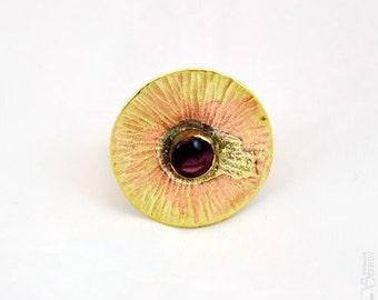 Small Sun - purple adjustable gold round ring
