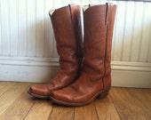 Vintage Tan Leather Frye Cowboy Boots Men Size 9