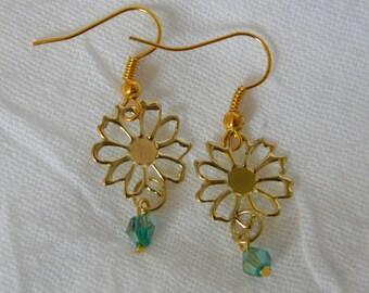 Golden Sunflower Dangle Earrings (E18)