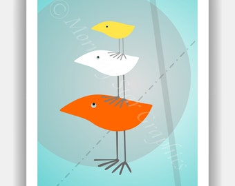 THREE TWEETS Mid Century Modern Style Birds 8x10 Baby Nursery Print