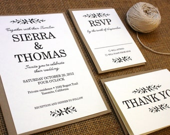 Rustic Woodsy Printable Wedding Invitation Suite - Sierra Collection