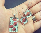 Glass Tile Turquoise and Red Poppy Sterling Silver Earring and Pendant Set