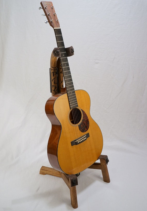 Handcrafted Wooden Guitar Stands ~ Handmade wooden guitar stand with hand carved strap detail
