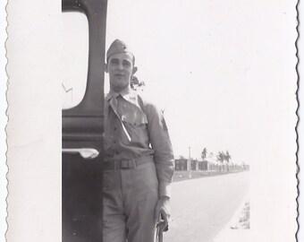Vintage Photograph - Man Marine Uniform Vintage Photo - Black and White Photo - 40s Photo - Military Related Photo
