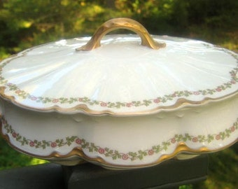 Half Price Haviland Sale - Antique Haviland Limoges Covered Tureen Schleiger 874 - Wedding Gift - Antique Collectible - Anniversary Gift - R