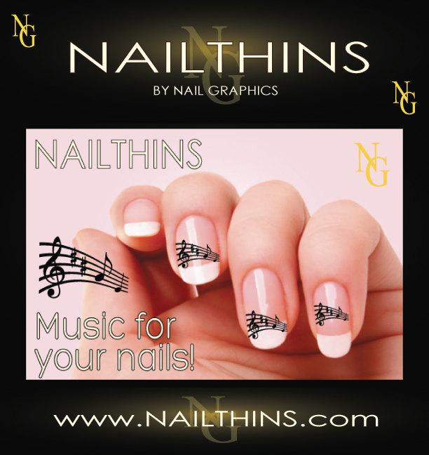 Music notes nail decal design set no1 nailthins nail art zoom prinsesfo Images