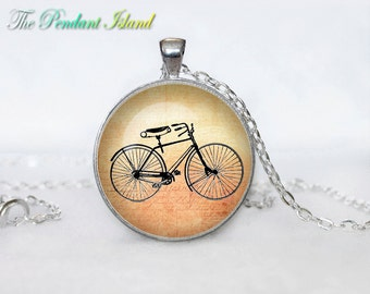 BICYCLE NECKLACE bicycle pendant bicycle jewelry Vintage Bicycle necklace glass  pendant, bicycle jewelery, bicycle jewellery
