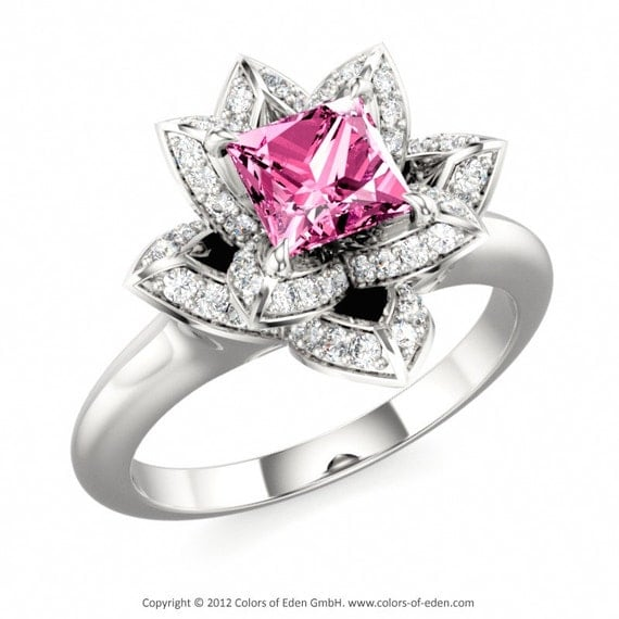 Items similar to Lotus Ring with Princess cut Pink Sapphire and Diamonds in 14k White Gold on Etsy