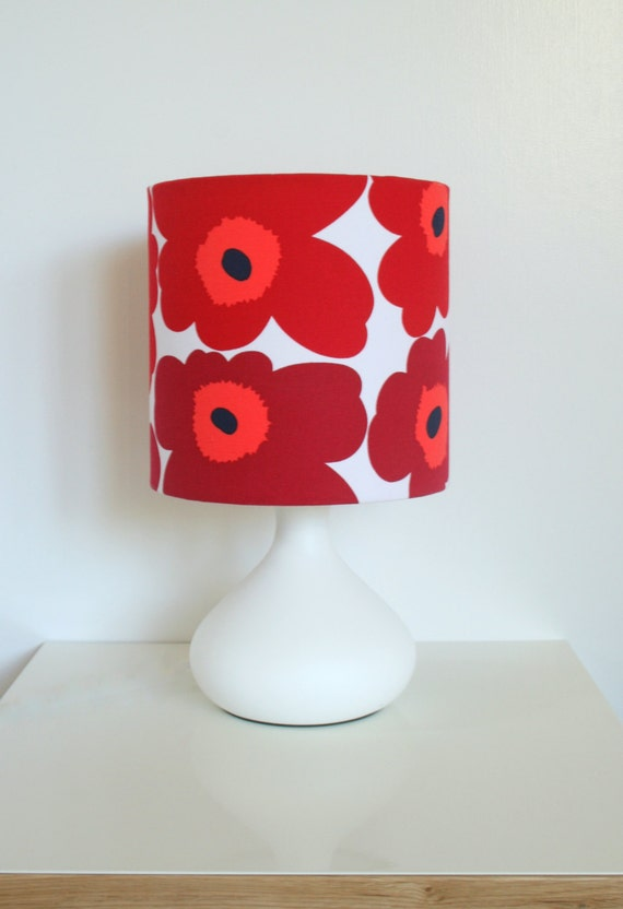 Scandinavian style red poppies table lamp matching lampshade and base