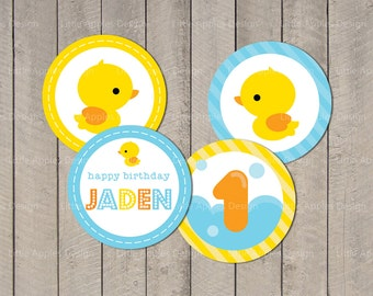 "Duck Cupcake Topper / Rubber Duck Cupcake Topper / Duck Party Circle 2"" / Rubber Duck Party Circle / Custom PDF Printable DIY"