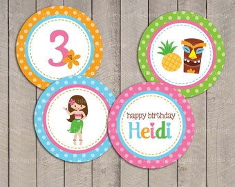 Luau Birthday / Luau Cupcake Toppers / Luau Party Circles / Luau Tag / Hawaiian Cupcake Toppers / Luau Party / Luau Printable