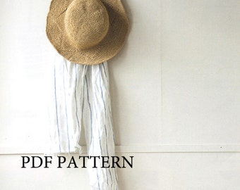pdf download crochet pattern, summer sun hat pattern, straw hat pattern