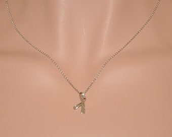 Sterling Silver Necklace, Sterling Silver Ribbon Pendant Necklace