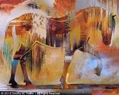 Contemporary Horse Art • Modern Horse Reproduction • Percheron • Abstract Horse Painting