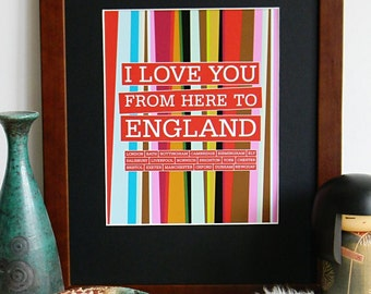 England - England Art - England Print - England poster - Digital Art - 8 X 10 print - Print Digital 8 X 10 - I love you from here to England
