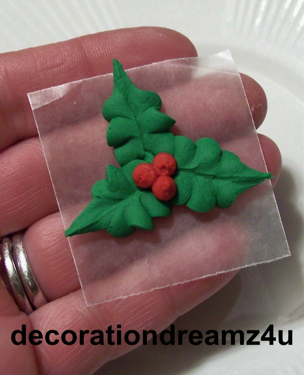 Edible Cake Decorations Holly Leaves : 10-1 1/2 Sugar Royal Icing Edible Christmas Holly Flower