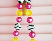 READY TO SHIP chunky necklace pink yellow zebra animal print baby toddler girls women