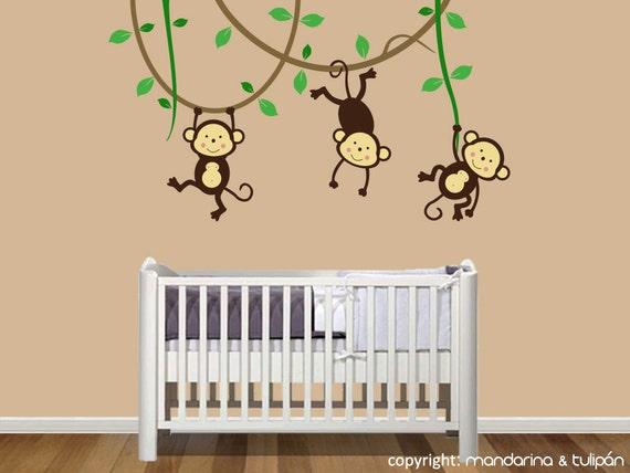 vinyl wall decal wandbild affe kinderzimmer aufkleber. Black Bedroom Furniture Sets. Home Design Ideas