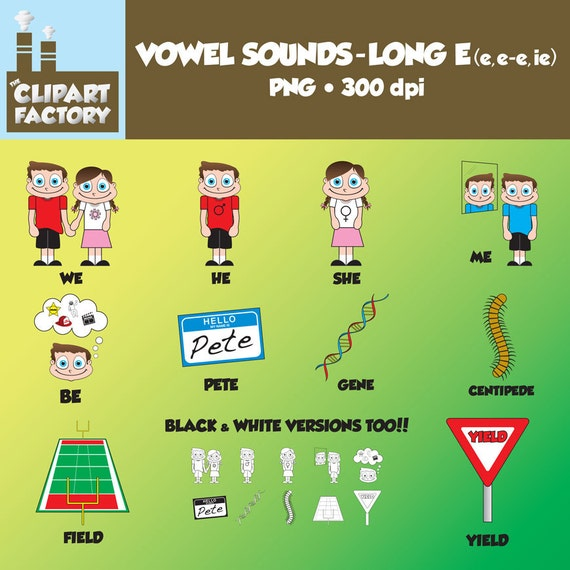 Clip Art:Vowel Sounds Long Eee-eieImages for words w/