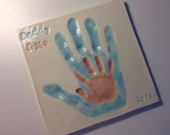 Daddy and Me Ceramic Handprint Keepsake