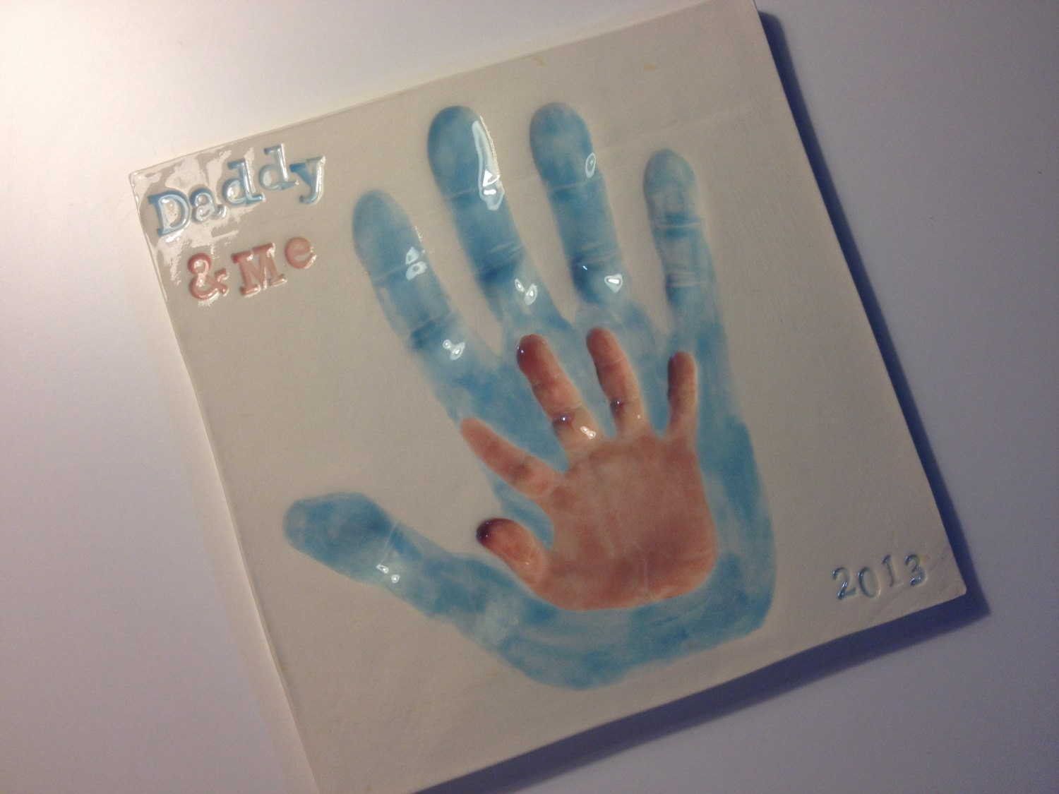 Daddy & Me Handprint Wall Art - Customized Ceramic Keepsake Clay Wall Tile Fathers Day Gift