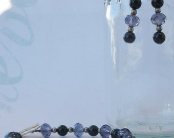 Black and Amethyst Crystal Beaded Bracelet and Earring Set