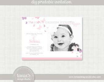 Butterfly Kisses Printable Birthday Invitation by tania's design studio