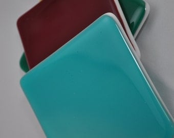 Fused Glass Color Block Coasters