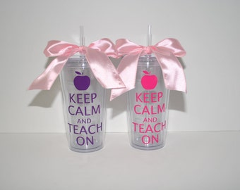 "20 oz. Clear Tumbler ""Keep Calm And Teach On"""