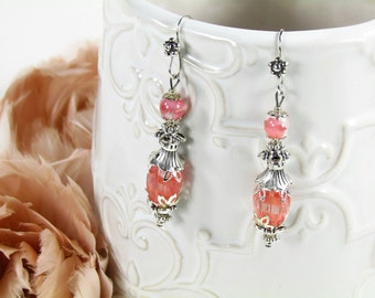 Victorian  Silver-Tone Earrings With  Vintage Beads One Of A Kind OOAK