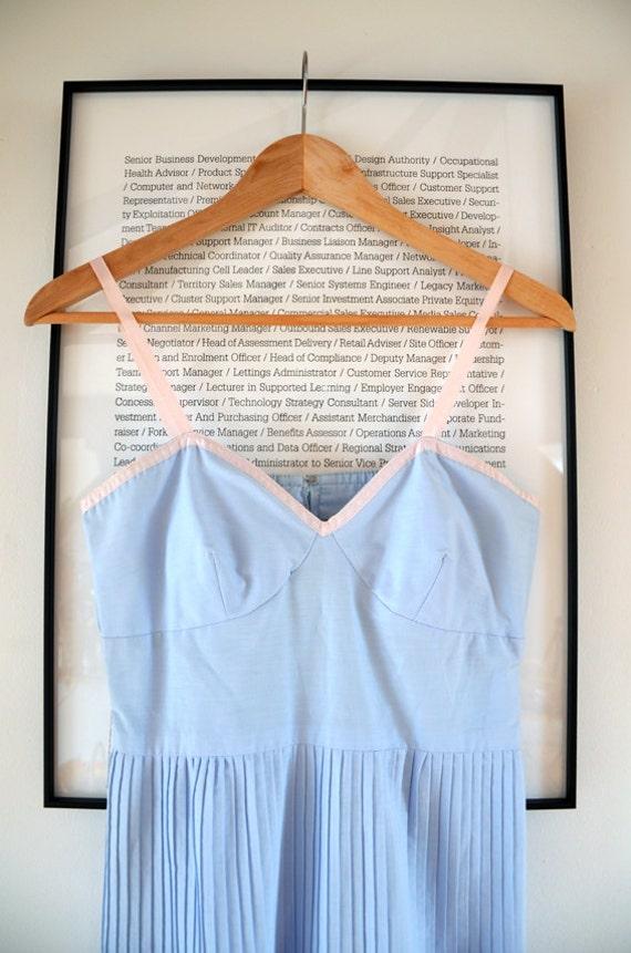 Pastel Sweetheart Dress, Romantic British Pleated Dress, Summer Layers Dress, S