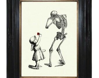 Halloween Girl Art Print sad Skeleton Reaper Death Red Rose Victorian Steampunk Gothic Art Print